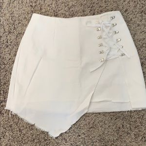 White Denim Lace Up Skirt Size Small